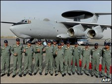Indian air crew line up in front of the Awacs plane