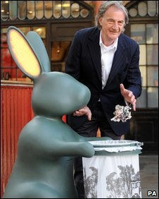 Paul Smith with his flashing rabbit bin