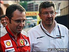 Ferrari team chief Stefano Domenicali and Brawn principal Ross Brawn