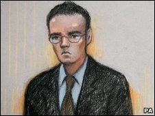 A court artist's impression of Dano Sonnex