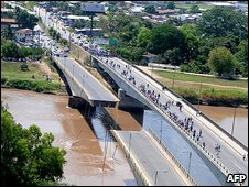 Bridge collapse in El Progreso