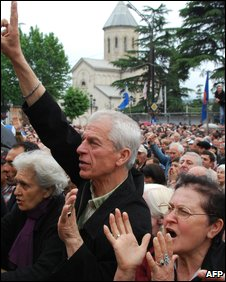 Opposition protestors in Tblisi on 28 May, 2009