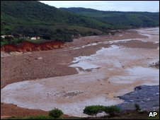 a view of a flooding area after a ruptured dam swamped a rural town in Piaui, Brazil