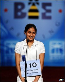 Kavya Shivashankar after winning the 2009 Scripps National Spelling Bee competition in Washington, DC (28 May 2009)