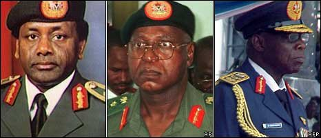 Sani Abacha (left), Abdulsalami Abubakar (middle), Olusegun Obasanjo (right)