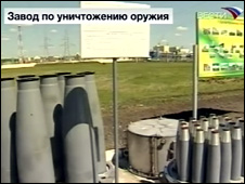 Decommissioned shells at Shchuchye (Vesti TV)