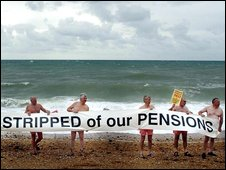 Protesters on Brighton beach strip off in protest about company pension schemes