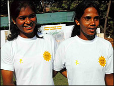 Rugby players Sangeeta Minz and Jashobani Pradhan