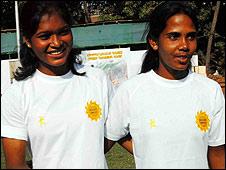 Rugby players Sangeeta Minz and Jashobani Pradhan