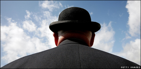 Man wearing bowler hat