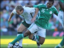 Republic midfielder Liam Lawrence and Kalu Uche fight for possession