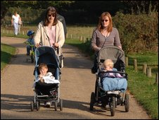 Mothers with children in pushchairs