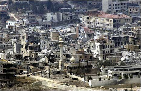 File photo of scene of devastation at Bint Jbeil in Lebanon.