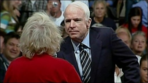 John McCain with audience member