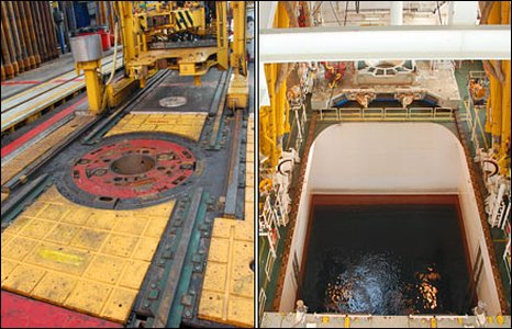 Where the drill passes through the Chikyu ship (BBC)