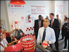 President Obama visits a Washington hamburger restaurant