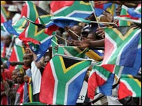 South Africa fans with flags
