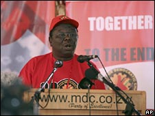 Zimbabwe PM Morgan Tsvangirai addresses the MDC convention in Harare. Photo: 30 May 2009