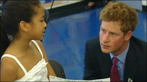 Prince Harry and a Harlem pupil