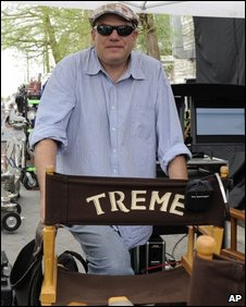 David Simon on the set of Treme