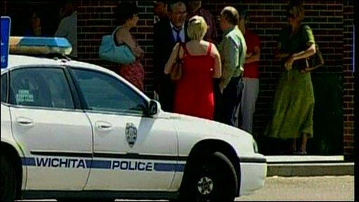 Police car at church