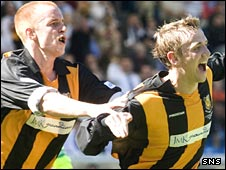 Sean McIlroy (right) celebrates his goal against Clydebank