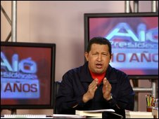 Hugo Chavez presents Alo Presidente