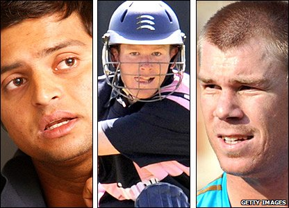 India's Suresh Raina, England's Eoin Morgan, Australia's David Warner