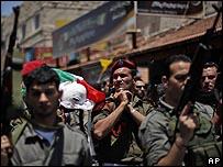عناصر مسلحة شاركت في تشييع عنصري القسام في قلقيلية