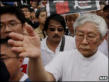Cardinal Zen at pro-democracy march, Hong Kong, 1 July 2007