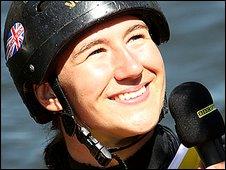 Britain's Lizzie Neave is interviewed by BBC Sport