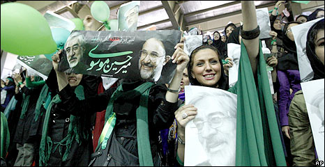 The youth of Iran supporting the reformist Leader, Mir Hussein Mosavi