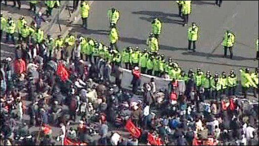 Protestors and police