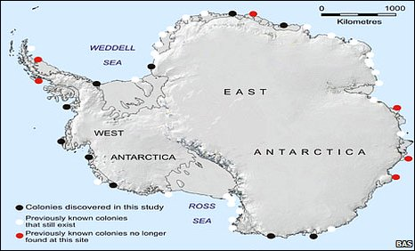 Emperor penguin colony location map