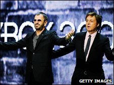 Ringo Starr and Paul McCartney at the E3 Expo in Los Angeles, US (1 June 2009)