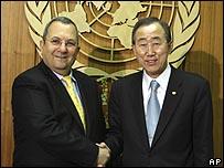 وزير الدفاع الإسرائيلي اجتمع مع أمين عام الأمم المتحد