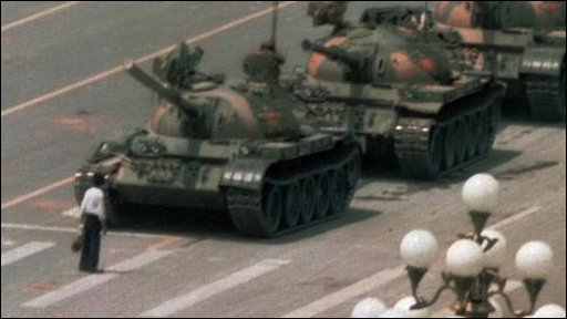 Jeff Widener's photograph of a student blocking a line of tanks heading for Tiananmen Square