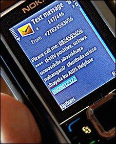 Text message, Project Masiluleke, South Africa