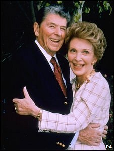 File picture of Nancy Reagan embracing her husband Ronald