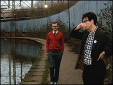 The band Empty Set standing on the towpath of a canal in Manchester