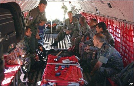 Brazilian soldiers prepare to leave aboard a search plane from Campo Grande, Mato Grosso do Sul, Brazil, 1 June