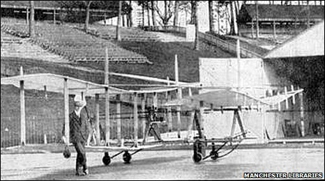 A. V. Roe and his plane in 1908 (c) Manchester Libraries