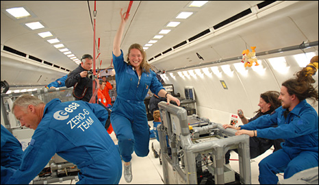 Microgravity flight (BBC)