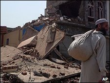 A house destroyed by fighting in Mingora