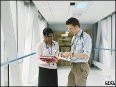 NHS staff talking