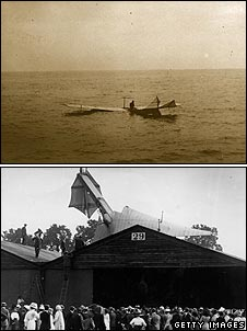 Latham crashing into the sea in 1909 and Latham crashing into a building at Brooklands racetrack