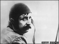 Louis Bleriot in his plane