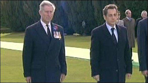 Prince Charles (l) and Nicolas Sarkozy