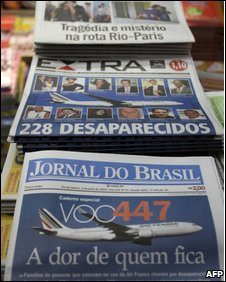 Copies of Brazilian newspapers reporting the jet crash on 2 June