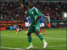 Joseph Akpala celebrates scoring against France